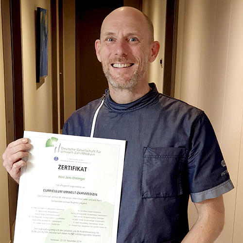 Certification of our dentist Jens Ehninger as an environmental dentist